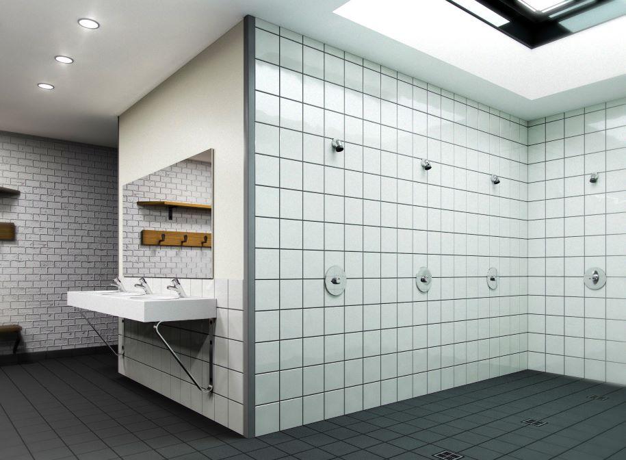 Le mitigeur encastrable de douche, PRESTO ALPA dans un vestiaire sportif